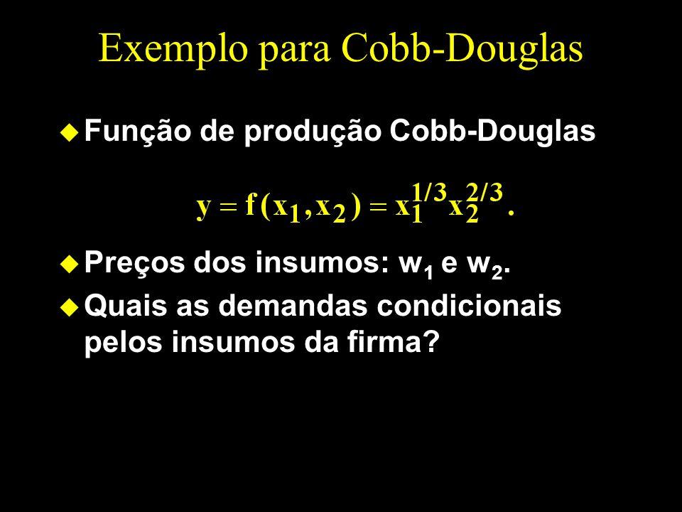 Exemplo para Cobb-Douglas u Função de produção Cobb-Douglas u Preços dos insumos: w 1 e w 2. u Quais as demandas condicionais pelos insumos da firma?