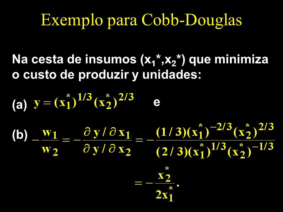 Exemplo para Cobb-Douglas Na cesta de insumos (x 1 *,x 2 *) que minimiza o custo de produzir y unidades: (a) (b) e