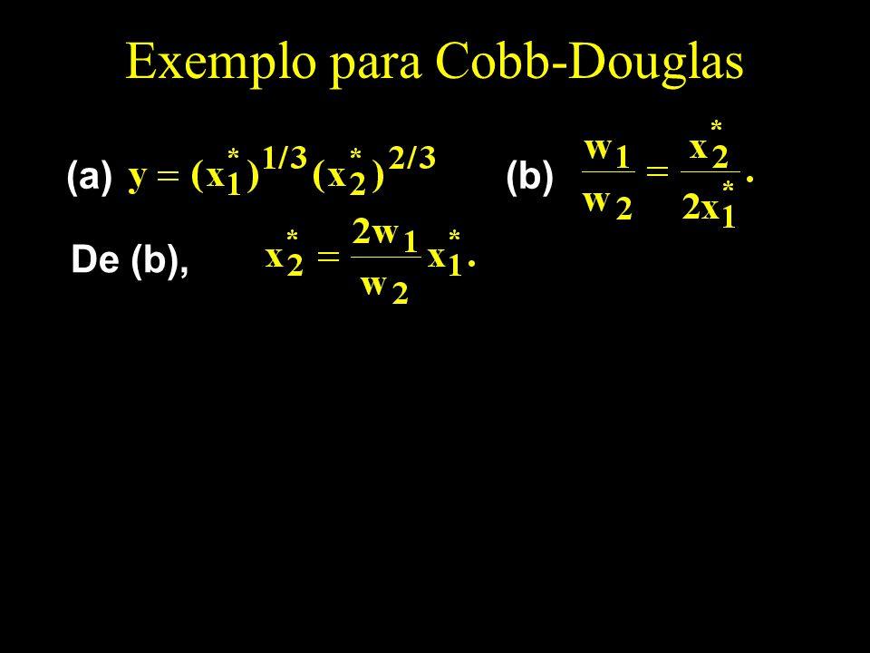 Exemplo para Cobb-Douglas (a)(b) De (b),