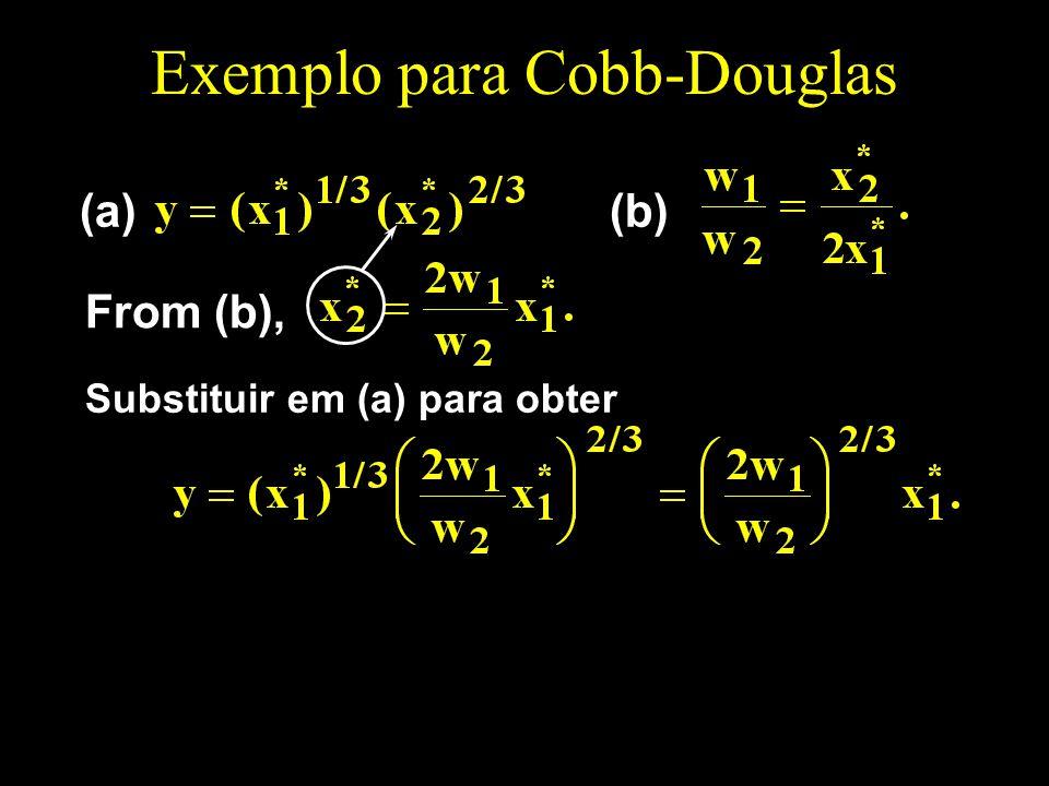 Exemplo para Cobb-Douglas (a)(b) From (b), Substituir em (a) para obter