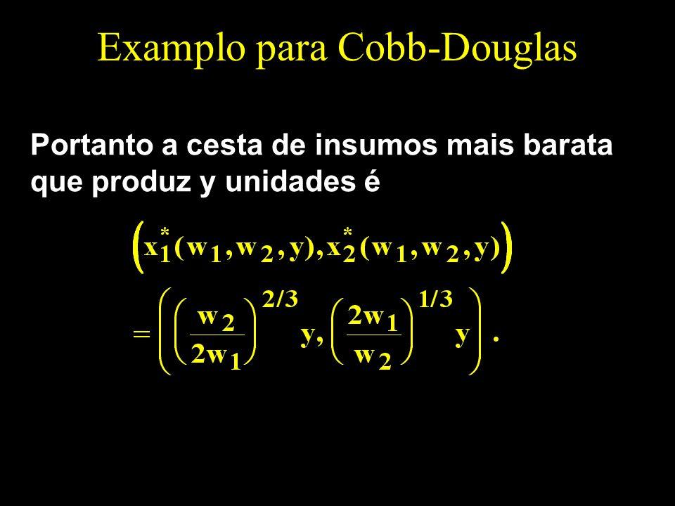 Examplo para Cobb-Douglas Portanto a cesta de insumos mais barata que produz y unidades é