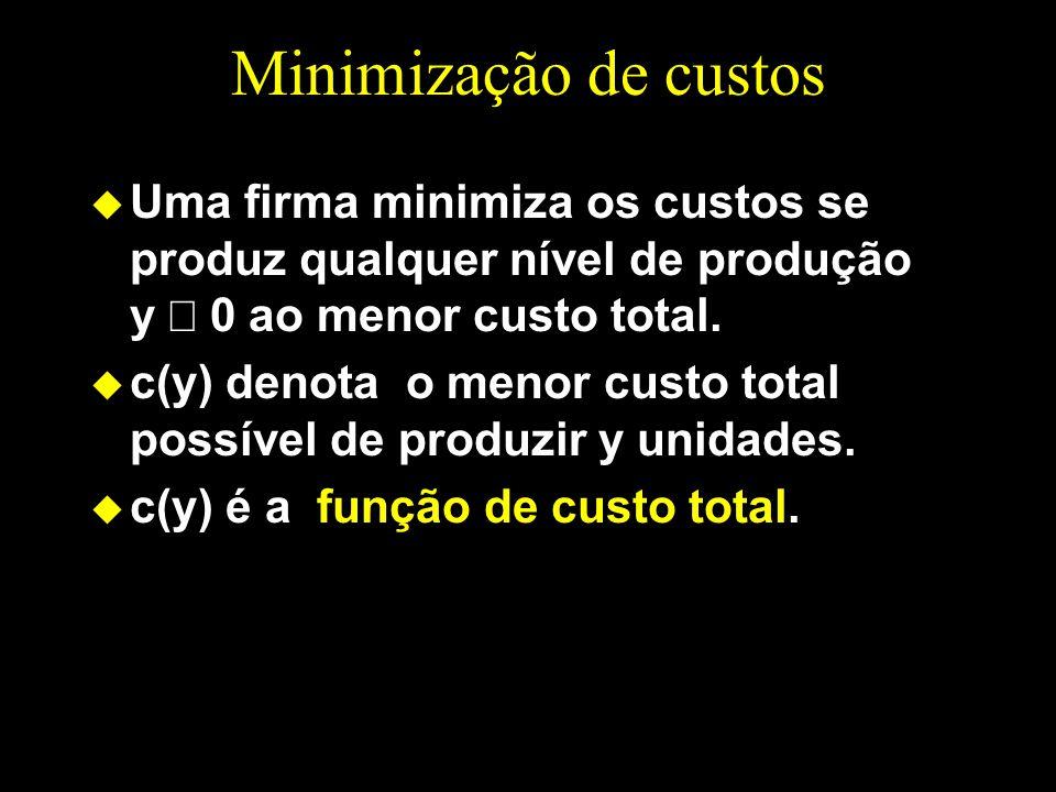 Minimização de custos Uma firma minimiza os custos se produz qualquer nível de produção y 0 ao menor custo total. u c(y) denota o menor custo total po