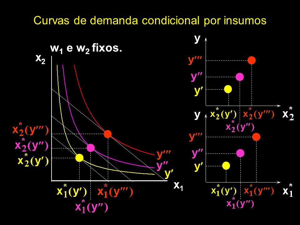 w 1 e w 2 fixos. Curvas de demanda condicional por insumos