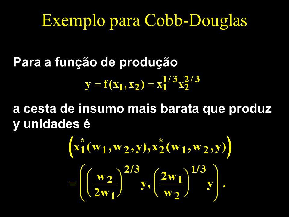 Exemplo para Cobb-Douglas Para a função de produção a cesta de insumo mais barata que produz y unidades é
