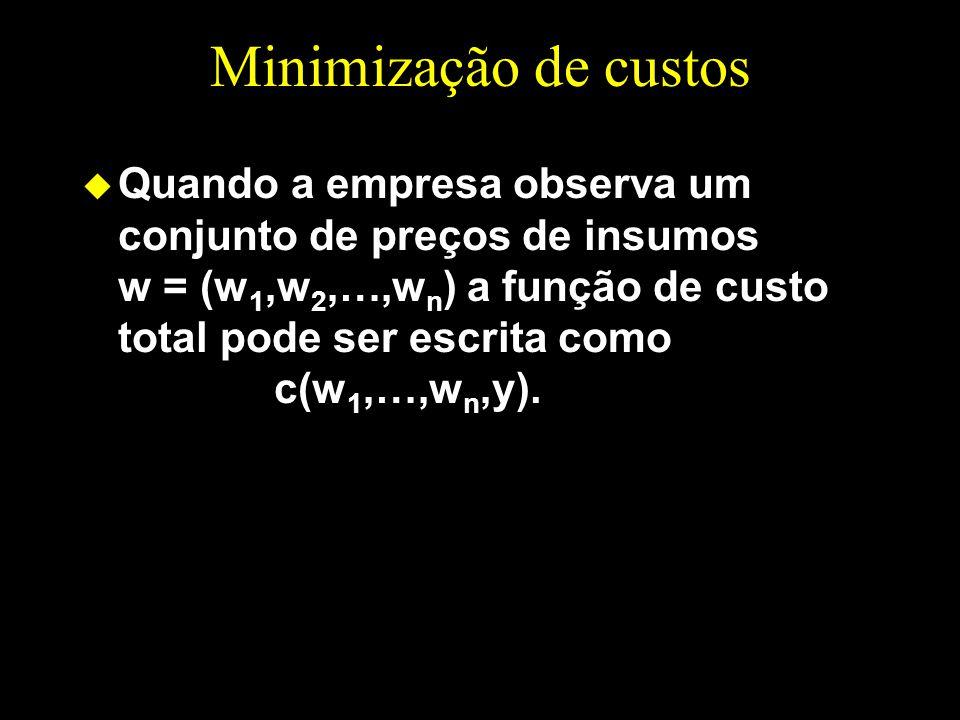 Minimização de custos u Quando a empresa observa um conjunto de preços de insumos w = (w 1,w 2,…,w n ) a função de custo total pode ser escrita como c