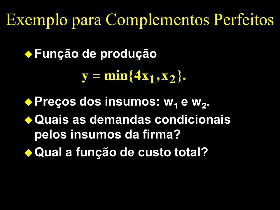 Exemplo para Complementos Perfeitos u Função de produção u Preços dos insumos: w 1 e w 2. u Quais as demandas condicionais pelos insumos da firma? u Q