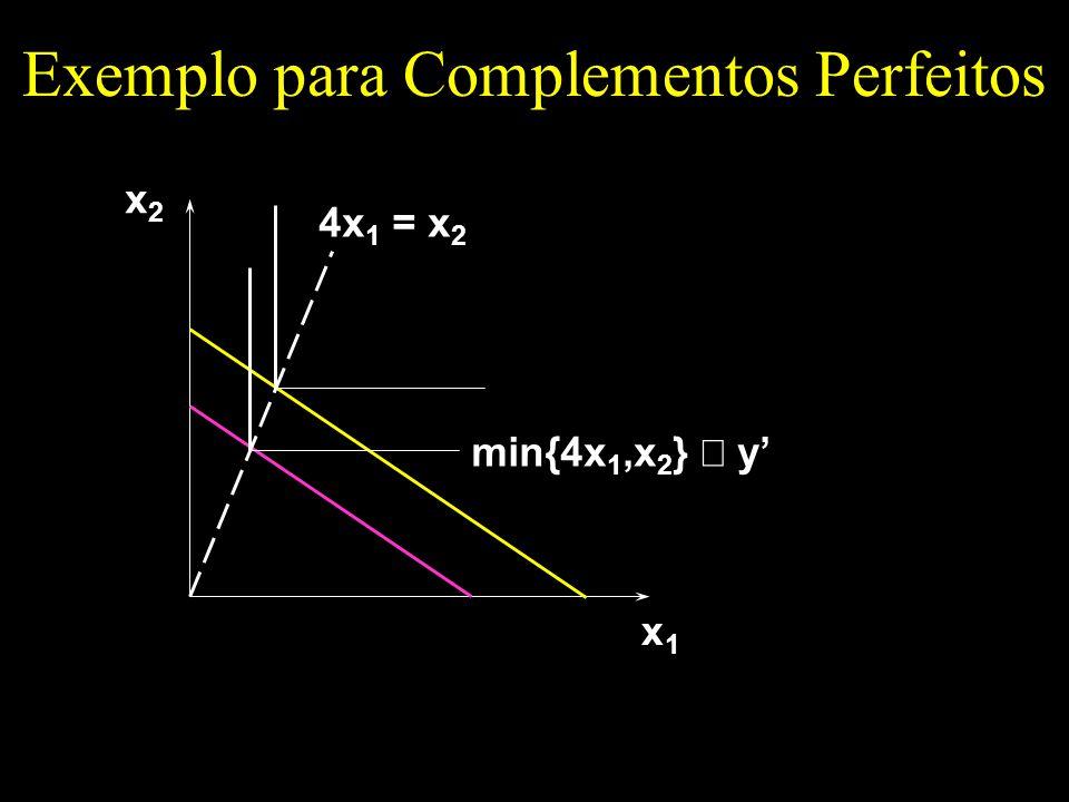 Exemplo para Complementos Perfeitos x1x1 x2x2 4x 1 = x 2 min{4x 1,x 2 } y