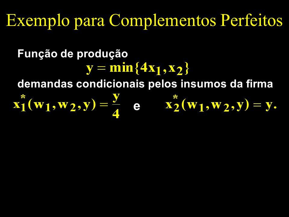 Exemplo para Complementos Perfeitos Função de produção demandas condicionais pelos insumos da firma e