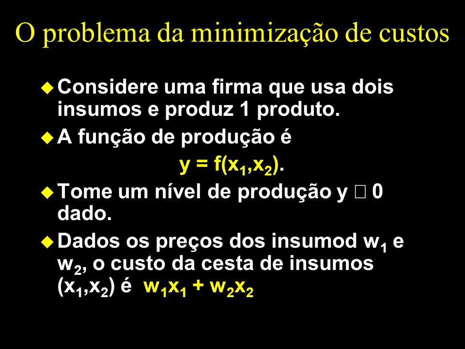 O problema da minimização de custos u Considere uma firma que usa dois insumos e produz 1 produto. u A função de produção é y = f(x 1,x 2 ). Tome um n