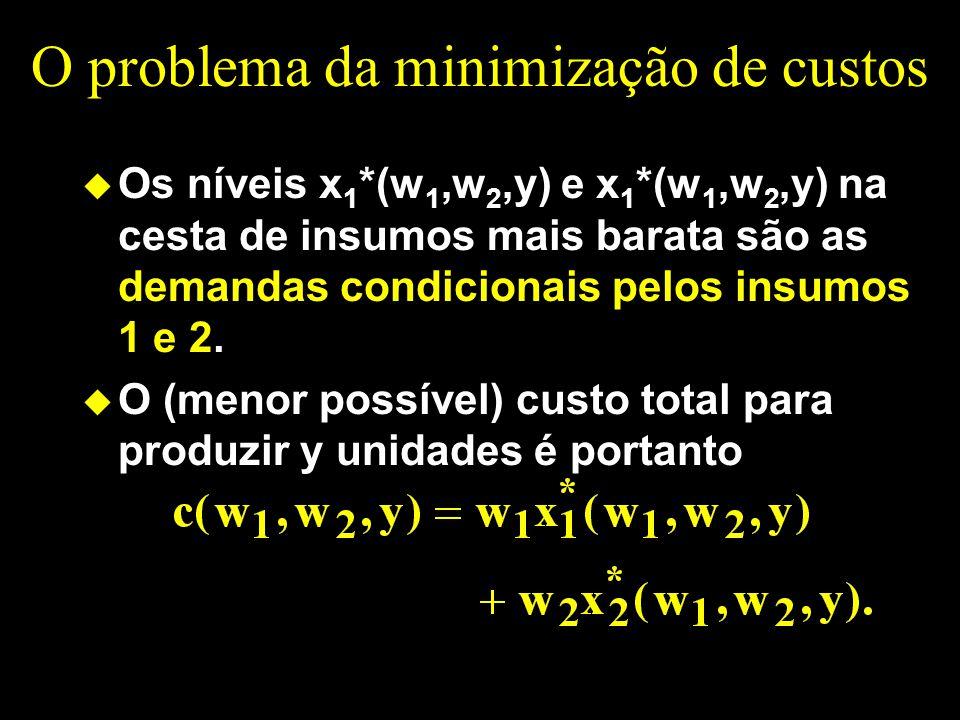O problema da minimização de custos u Os níveis x 1 *(w 1,w 2,y) e x 1 *(w 1,w 2,y) na cesta de insumos mais barata são as demandas condicionais pelos