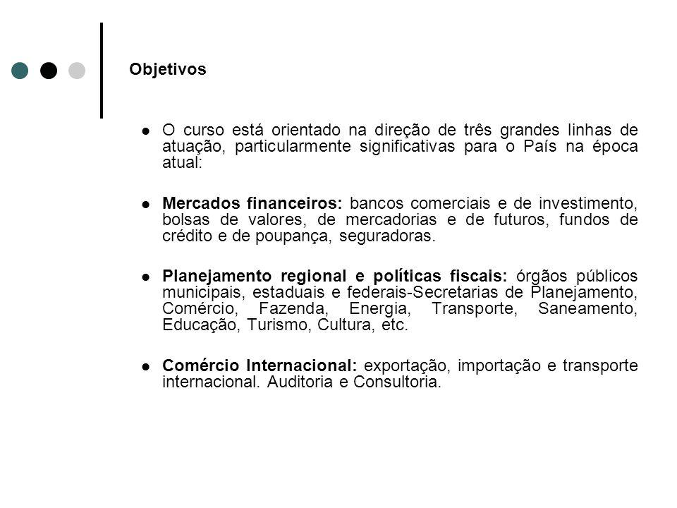 Objetivos O curso está orientado na direção de três grandes linhas de atuação, particularmente significativas para o País na época atual: Mercados fin