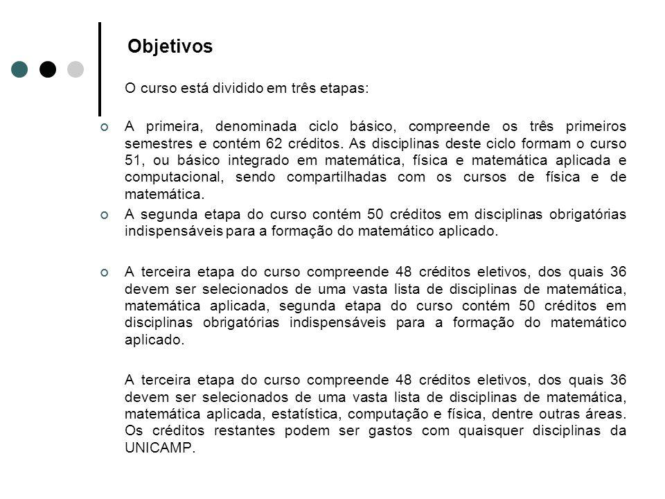 Objetivos O curso está dividido em três etapas: A primeira, denominada ciclo básico, compreende os três primeiros semestres e contém 62 créditos. As d