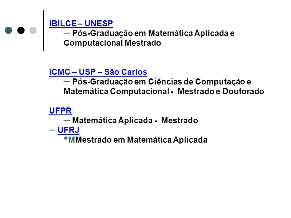 IBILCE – UNESP – Pós-Graduação em Matemática Aplicada e Computacional Mestrado ICMC – USP – São Carlos – Pós-Graduação em Ciências de Computação e Mat