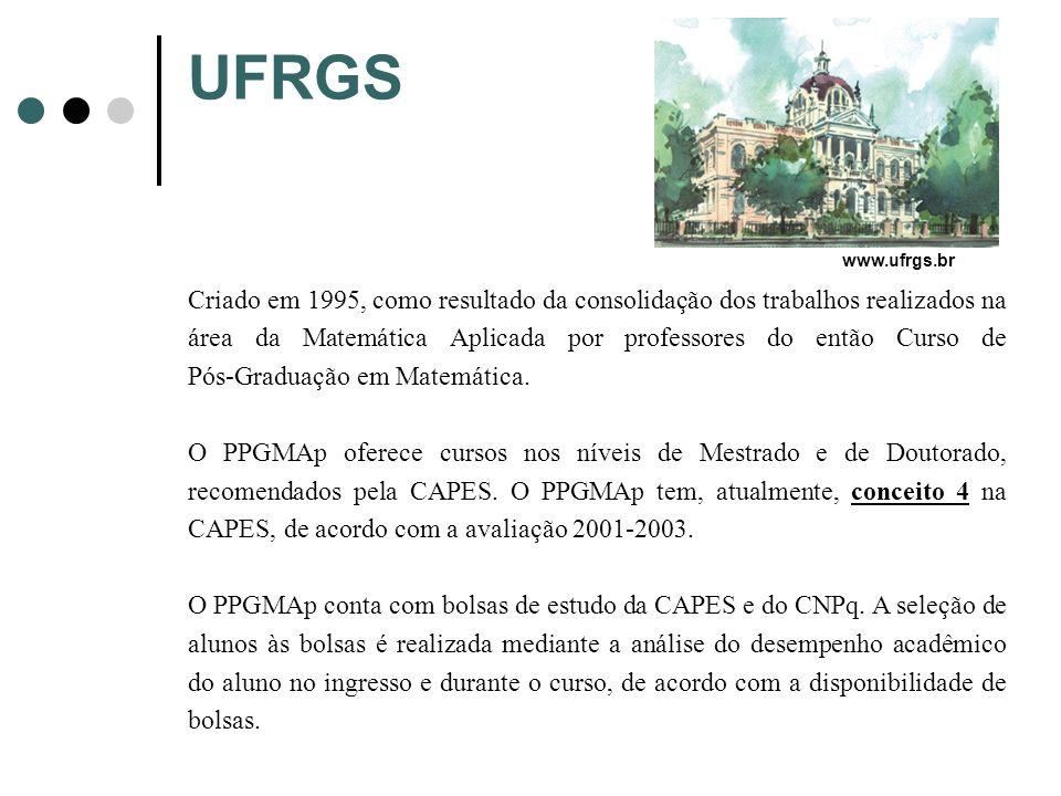 UFRGS Criado em 1995, como resultado da consolidação dos trabalhos realizados na área da Matemática Aplicada por professores do então Curso de Pós-Gra