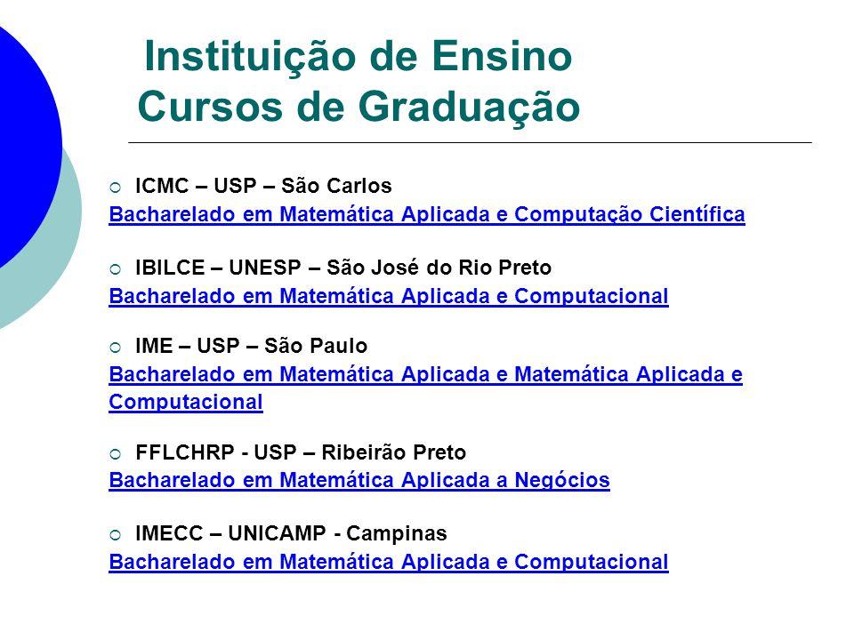 Instituição de Ensino Cursos de Graduação ICMC – USP – São Carlos Bacharelado em Matemática Aplicada e Computação Científica IBILCE – UNESP – São José