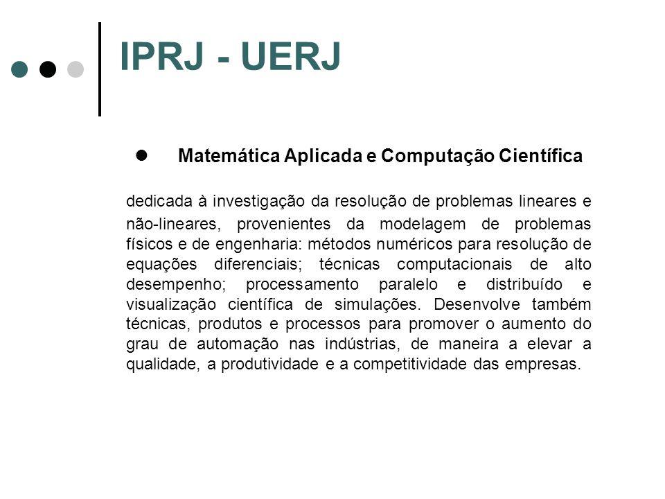 IPRJ - UERJ Matemática Aplicada e Computação Científica dedicada à investigação da resolução de problemas lineares e não-lineares, provenientes da mod