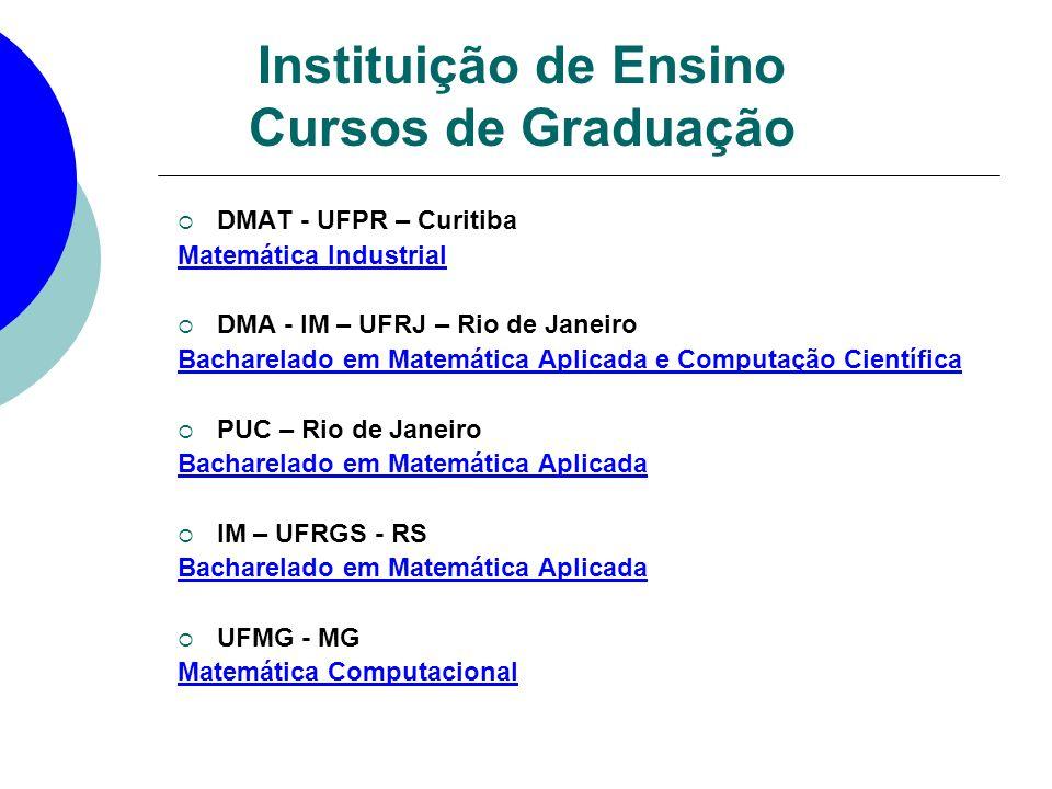 DMAT - UFPR – Curitiba Matemática Industrial DMA - IM – UFRJ – Rio de Janeiro Bacharelado em Matemática Aplicada e Computação Científica PUC – Rio de