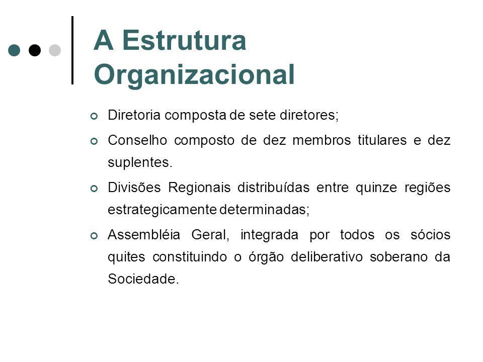 A Estrutura Organizacional Diretoria composta de sete diretores; Conselho composto de dez membros titulares e dez suplentes. Divisões Regionais distri