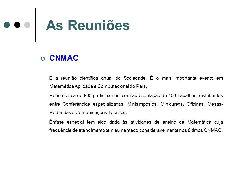 As Reuniões CNMAC É a reunião científica anual da Sociedade. É o mais importante evento em Matemática Aplicada e Computacional do País. Reúne cerca de