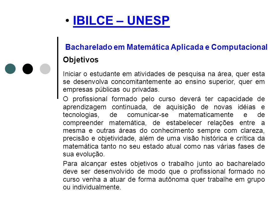 IBILCE – UNESP Bacharelado em Matemática Aplicada e ComputacionalIBILCE – UNESP Objetivos Iniciar o estudante em atividades de pesquisa na área, quer
