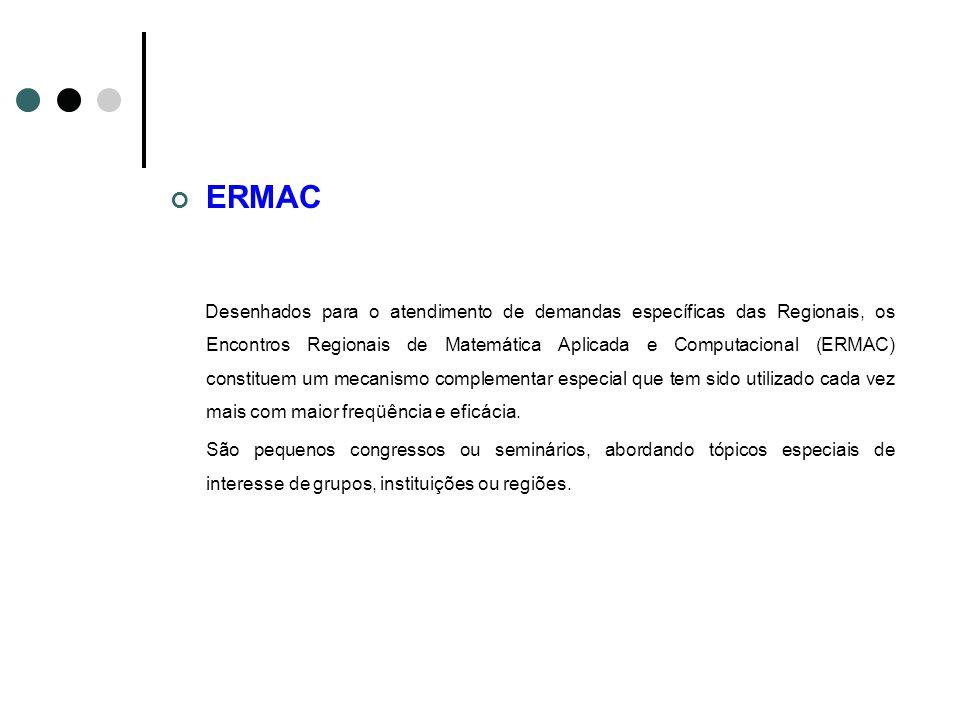ERMAC Desenhados para o atendimento de demandas específicas das Regionais, os Encontros Regionais de Matemática Aplicada e Computacional (ERMAC) const