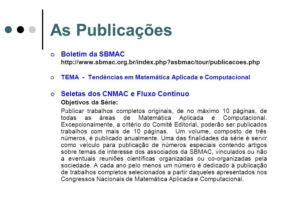 As Publicações Boletim da SBMAC http://www.sbmac.org.br/index.php?asbmac/tour/publicacoes.php TEMA - Tendências em Matemática Aplicada e Computacional