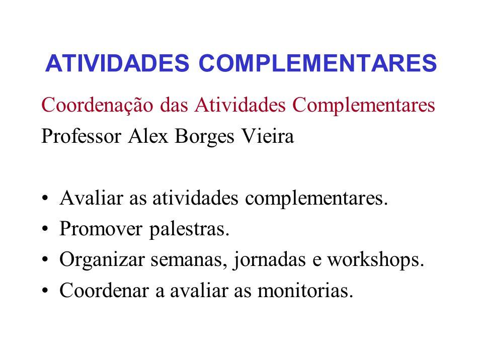 ATIVIDADES COMPLEMENTARES Coordenação das Atividades Complementares Professor Alex Borges Vieira Avaliar as atividades complementares.