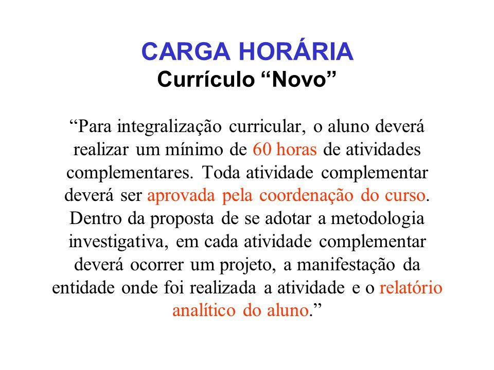 CARGA HORÁRIA Currículo Novo Para integralização curricular, o aluno deverá realizar um mínimo de 60 horas de atividades complementares.