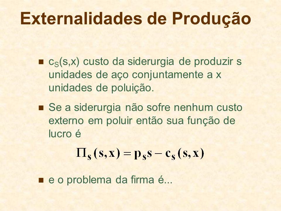 Externalidades de Produção c S (s,x) custo da siderurgia de produzir s unidades de aço conjuntamente a x unidades de poluição.