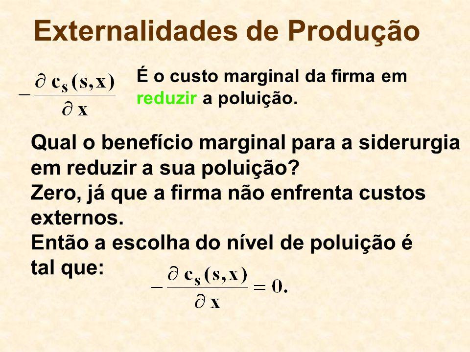Externalidades de Produção Zero, já que a firma não enfrenta custos externos.