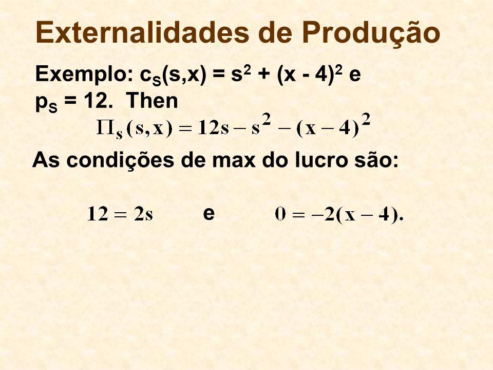 Externalidades de Produção As condições de max do lucro são: e Exemplo: c S (s,x) = s 2 + (x - 4) 2 e p S = 12.