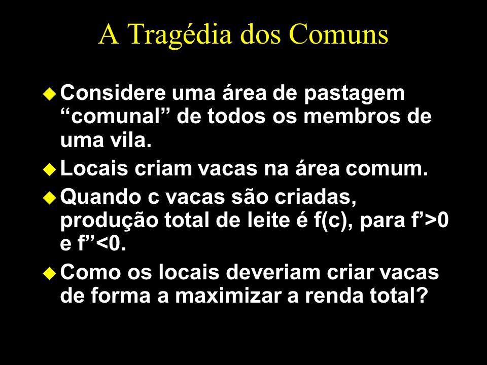 A Tragédia dos Comuns u Considere uma área de pastagem comunal de todos os membros de uma vila.