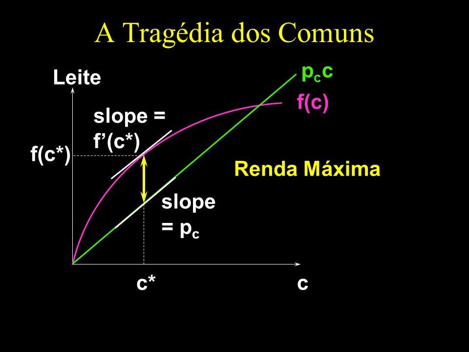 A Tragédia dos Comuns c Leite f(c) pccpcc slope = f(c*) c* slope = p c Renda Máxima f(c*)