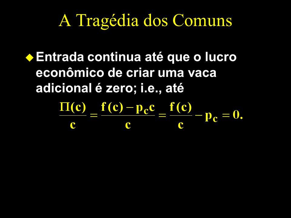 A Tragédia dos Comuns u Entrada continua até que o lucro econômico de criar uma vaca adicional é zero; i.e., até