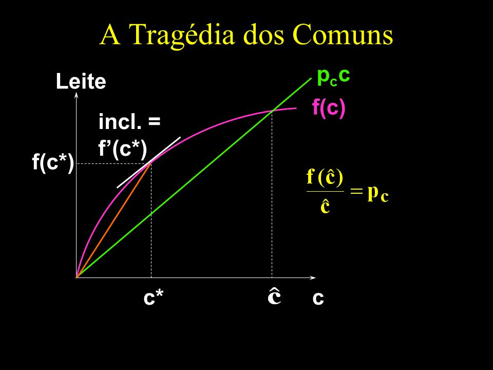 A Tragédia dos Comuns c Leite f(c) pccpcc incl. = f(c*) c* f(c*)