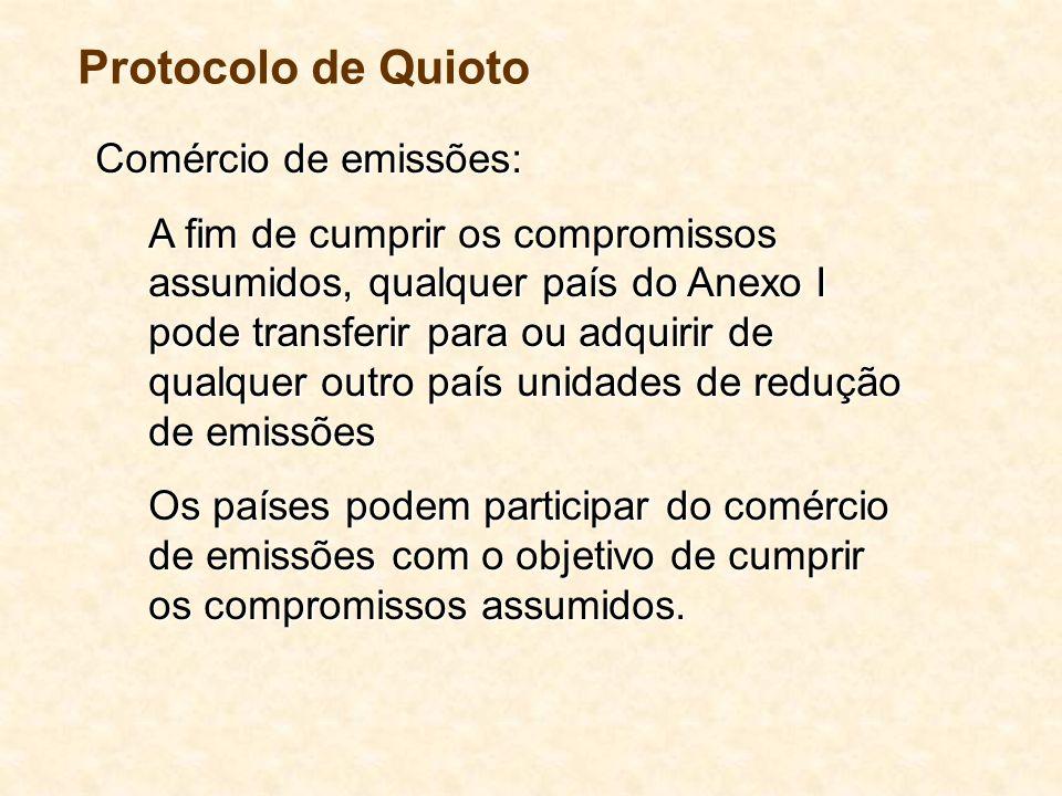 Comércio de emissões: A fim de cumprir os compromissos assumidos, qualquer país do Anexo I pode transferir para ou adquirir de qualquer outro país unidades de redução de emissões Os países podem participar do comércio de emissões com o objetivo de cumprir os compromissos assumidos.