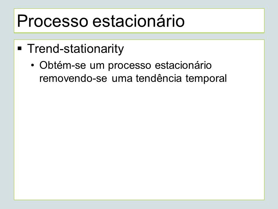 Processo estacionário Trend-stationarity Obtém-se um processo estacionário removendo-se uma tendência temporal
