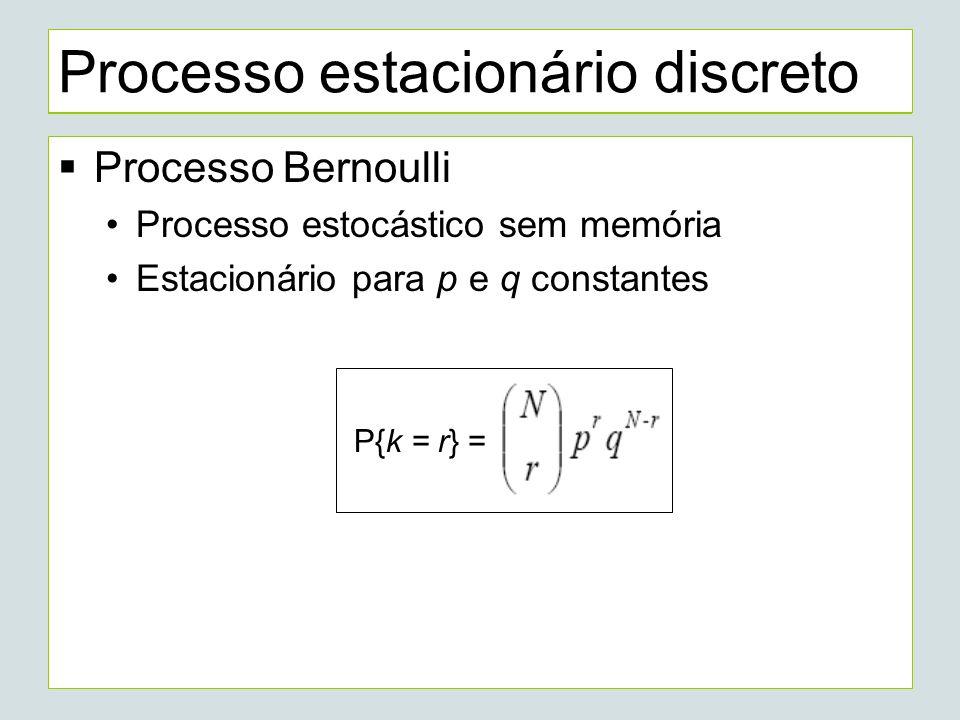 Processo estacionário discreto Processo Markov Estacionário Relógio de um computador com n estados Distribuição de probabilidade de um único estado que seja consistente para qualquer momento: [ 1/n, 1/n,..., 1/n ]