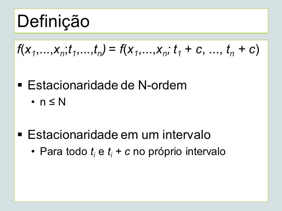 Definição f(x 1,...,x n ;t 1,...,t n ) = f(x 1,...,x n ; t 1 + c,..., t n + c) Estacionaridade de N-ordem n N Estacionaridade em um intervalo Para todo t i e t i + c no próprio intervalo