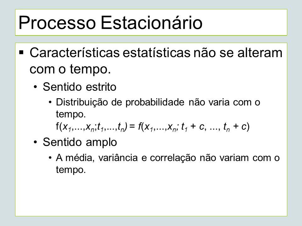 Processo Estacionário Características estatísticas não se alteram com o tempo.