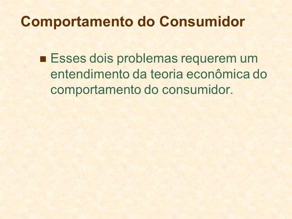 Comportamento do Consumidor Esses dois problemas requerem um entendimento da teoria econômica do comportamento do consumidor.