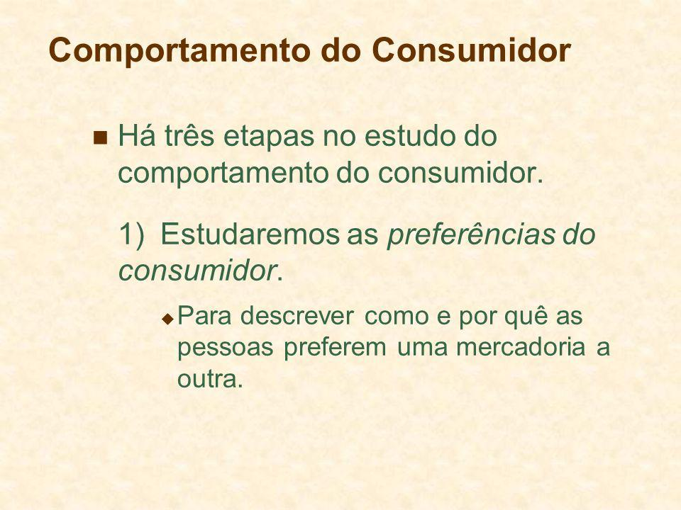 Comportamento do Consumidor Há três etapas no estudo do comportamento do consumidor.