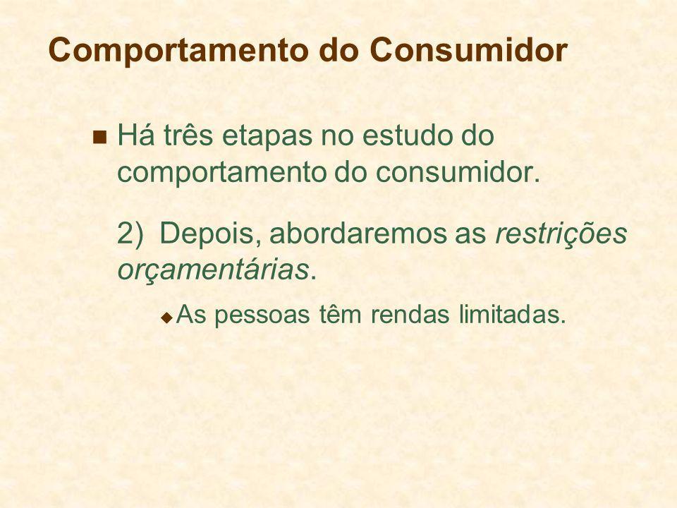 Comportamento do Consumidor Há três etapas no estudo do comportamento do consumidor. 2)Depois, abordaremos as restrições orçamentárias. As pessoas têm