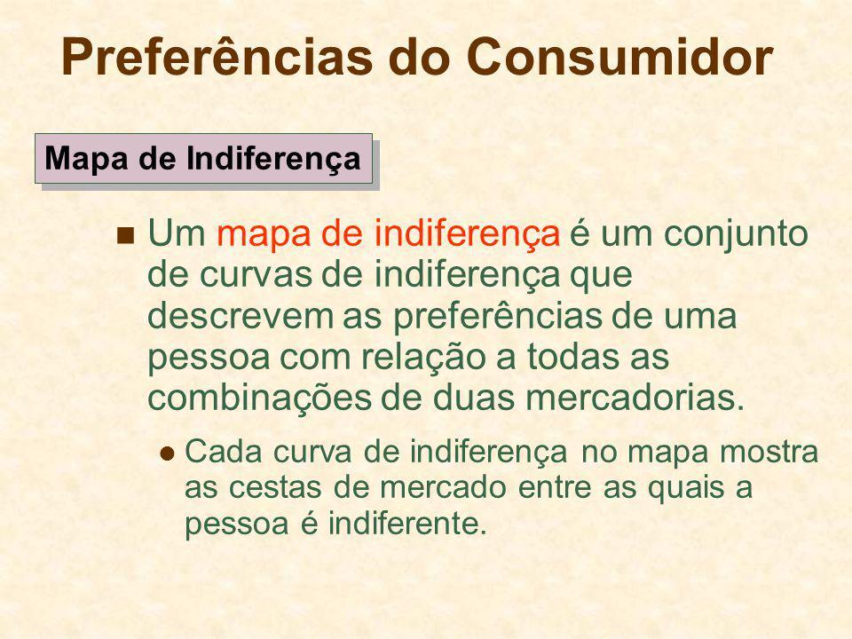 Preferências do Consumidor Um mapa de indiferença é um conjunto de curvas de indiferença que descrevem as preferências de uma pessoa com relação a tod