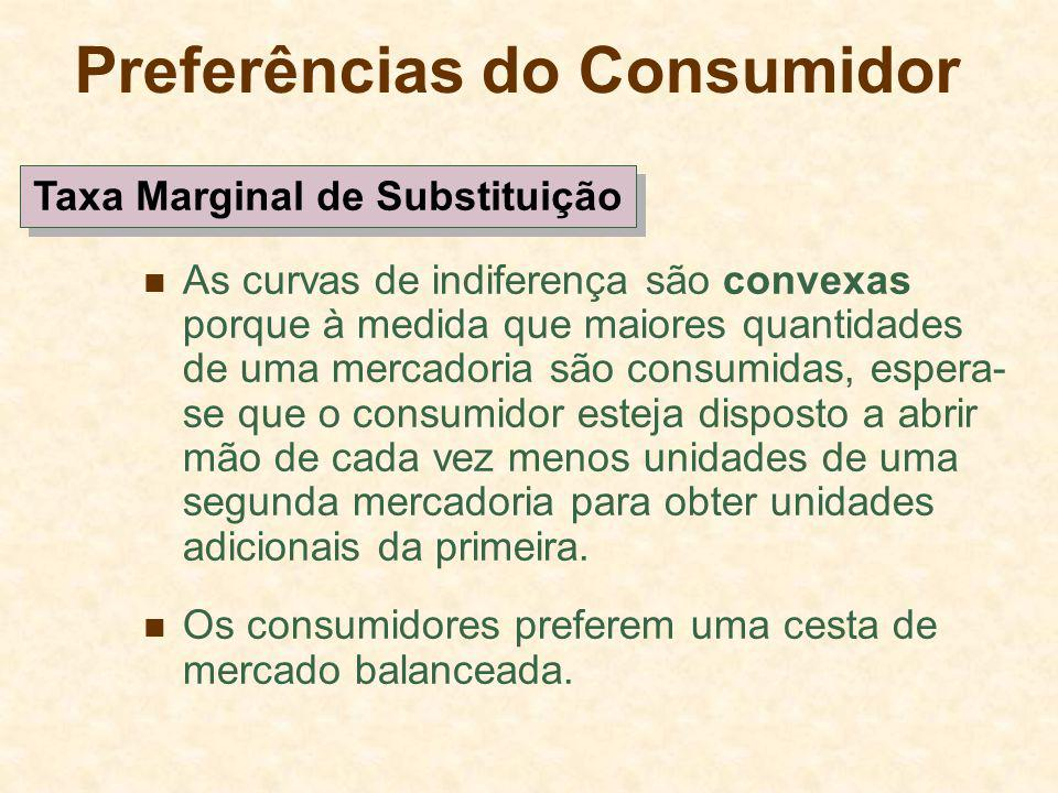 Preferências do Consumidor As curvas de indiferença são convexas porque à medida que maiores quantidades de uma mercadoria são consumidas, espera- se