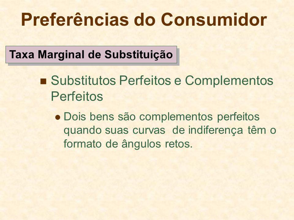 Preferências do Consumidor Substitutos Perfeitos e Complementos Perfeitos Dois bens são complementos perfeitos quando suas curvas de indiferença têm o