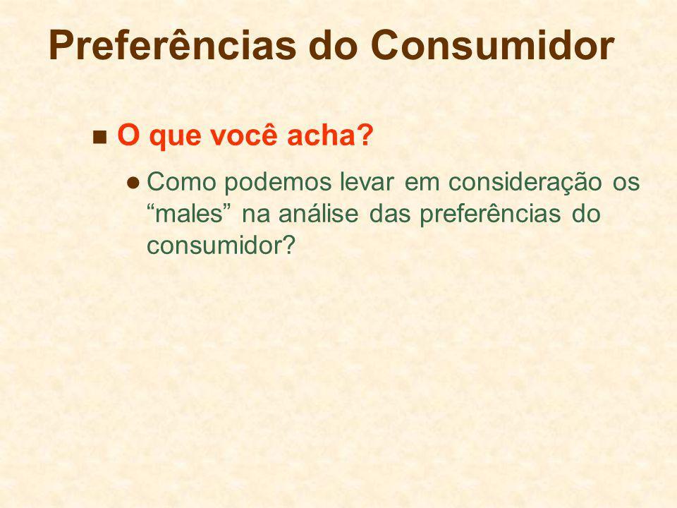 Preferências do Consumidor O que você acha? Como podemos levar em consideração os males na análise das preferências do consumidor?