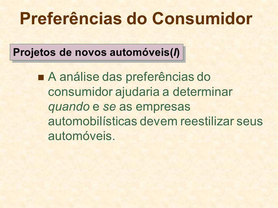 Preferências do Consumidor A análise das preferências do consumidor ajudaria a determinar quando e se as empresas automobilísticas devem reestilizar s