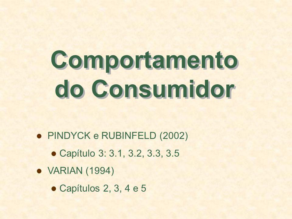 Comportamento do Consumidor PINDYCK e RUBINFELD (2002) Capítulo 3: 3.1, 3.2, 3.3, 3.5 VARIAN (1994) Capítulos 2, 3, 4 e 5