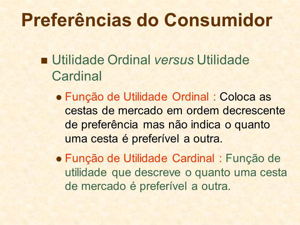 Preferências do Consumidor Utilidade Ordinal versus Utilidade Cardinal Função de Utilidade Ordinal : Coloca as cestas de mercado em ordem decrescente
